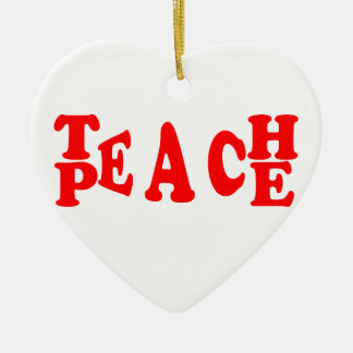 Teach Peace In Red Font Ceramic Heart Decoration