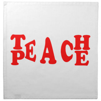 Teach Peace In Red Font Napkin