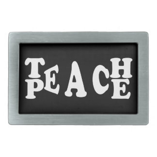 Teach Peace In White Font Belt Buckles