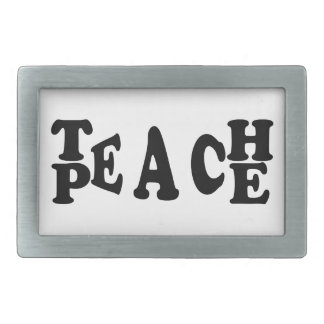 Teach Peace Rectangular Belt Buckle