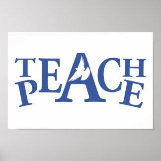 Teach peace single white dove slogan art poster