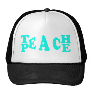 Teach Peach In Light Blue Font Cap