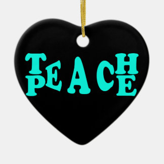 Teach Peach In Light Blue Font Ceramic Heart Decoration
