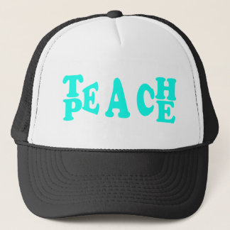 Teach Peach In Light Blue Font Trucker Hat