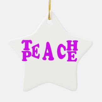 Teach Peach In Purple Font Ceramic Star Decoration