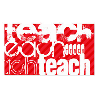 Teach; Scarlet Red Stripes Pack Of Standard Business Cards