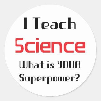 Teach science round stickers