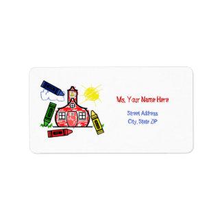 Teacher Address Label - Schoolhouse & Crayons
