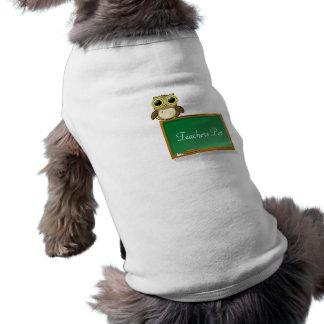 Teacher Adorable Owl on Chalkboard Personalize Sleeveless Dog Shirt
