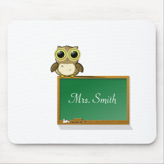 Teacher Adorable Owl on Chalkboard Personalize Mouse Pads