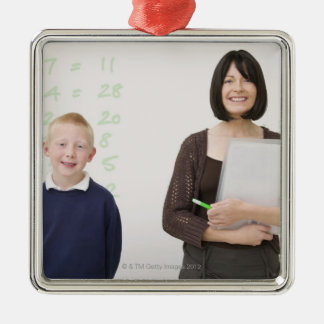 teacher and pupil Silver-Colored square decoration