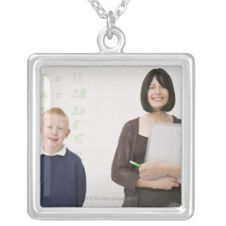 teacher and pupil silver plated necklace