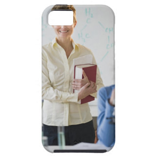 Teacher and student in science lab iPhone 5 case