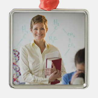 Teacher and student in science lab Silver-Colored square decoration