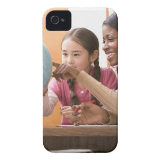 Teacher and student looking at globe iPhone 4 case