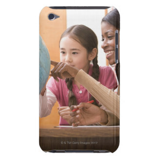 Teacher and student looking at globe iPod touch case