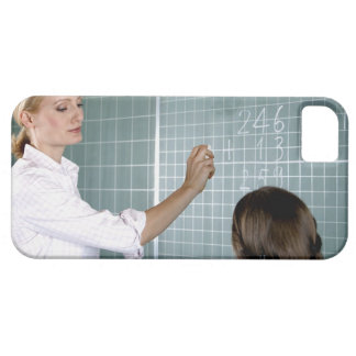 teacher and young girl in front of blackboard in iPhone 5 cover