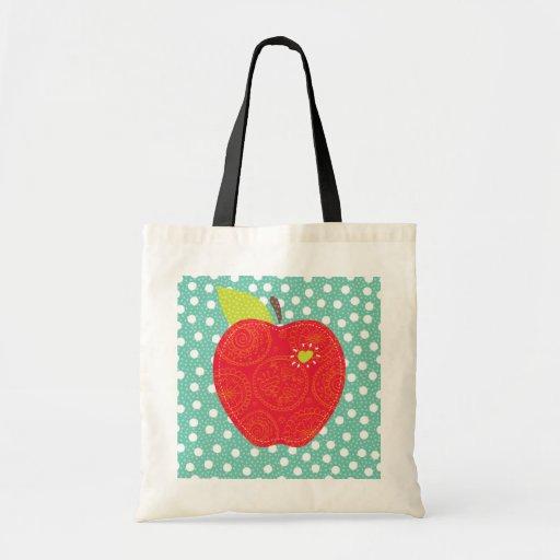 teacher Apple Patch with pokadots bag