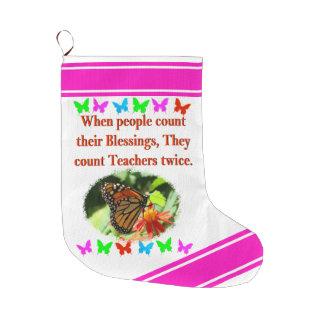 TEACHER APPRECIATION BUTTERFLY DESIGN LARGE CHRISTMAS STOCKING