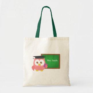 Teacher Appreciation Day, Cute Pink Owl Budget Tote Bag