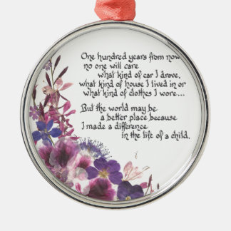 Teacher Appreciation Gift Silver-Colored Round Decoration