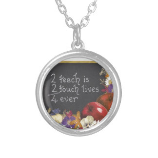 Teacher appreciation silver plated necklace