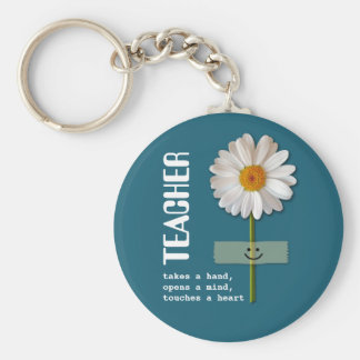 Teacher Appreciation Smiling Daisy Gift Keychains