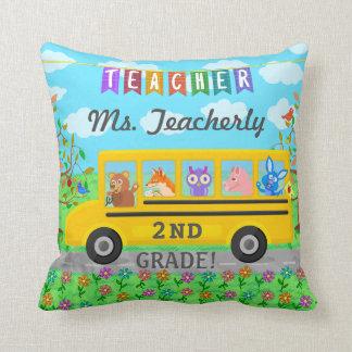 Teacher Appreciation Thank You   Cute Bus Animals Cushion