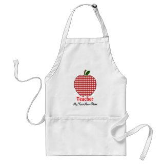 Teacher Apron - Red Gingham Apple