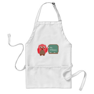 Teacher Apron - Red Owl At Chalkboard