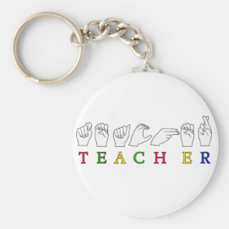 TEACHER ASL SIGN LANGUAGE FINGERSPELLED BASIC ROUND BUTTON KEY RING