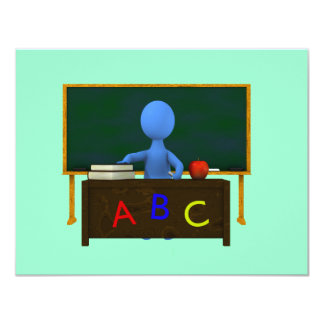 Teacher at Desk Personalized Announcements