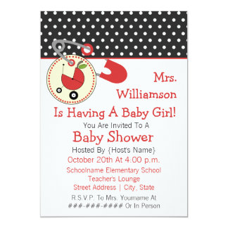 Teacher Baby Shower Invite - Red and Black