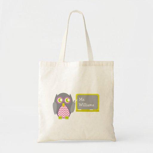 Teacher Bag - Pink Chevron & Gray Owl Chalkboard