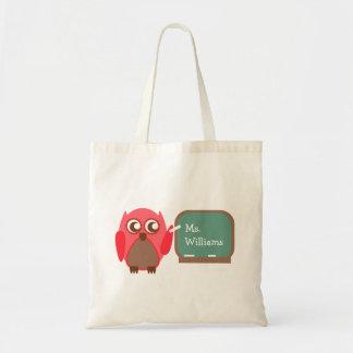 Teacher Bag - Red Owl At Chalkboard