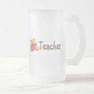 Teacher Bear Frosted Glass Mug