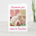 """TEACHER"" BIG BUNNY BUTT BIG EASTER WISH FOR YOU CHRISTMAS CARD"
