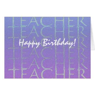 Teacher Blue Violet Birthday Card to Customize