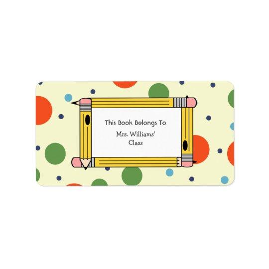 Teacher Bookplate - Polka Dots & Yellow Pencils Label