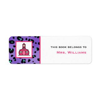 Teacher Bookplate - Purple Leopard Print Return Address Label