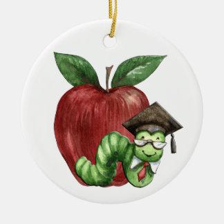 Teacher Bookworm Round Ceramic Decoration