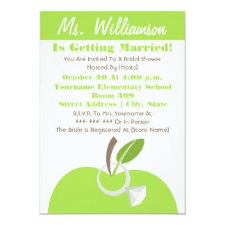 Teacher Bridal Shower Invite - Green Apple & Ring