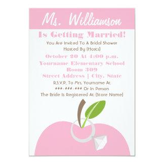 Teacher Bridal Shower Invite - Pink Apple & Ring