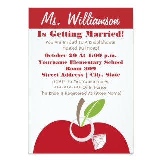 Teacher Bridal Shower Invite - Red Apple & Ring