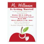 Teacher Bridal Shower Invite - Red Apple & Ring 13 Cm X 18 Cm Invitation Card
