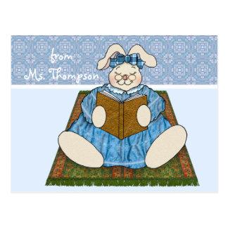 Teacher Bunny Rabbit Reads a Book Postcard