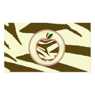 Teacher Business Card - Brown Zebra Print Apple