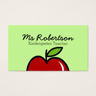 Teacher business card template with red apple