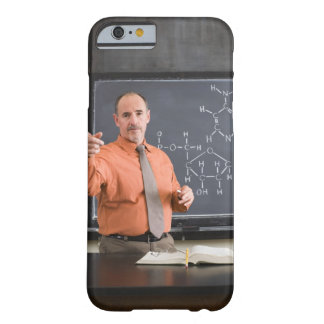 Teacher by chalkboard with structure of chemical barely there iPhone 6 case