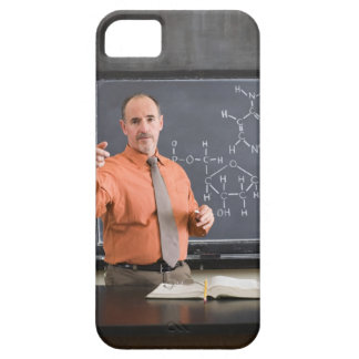 Teacher by chalkboard with structure of chemical iPhone 5 cover